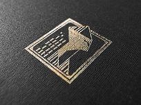 提案贴图织物金色标志展示logo效果图