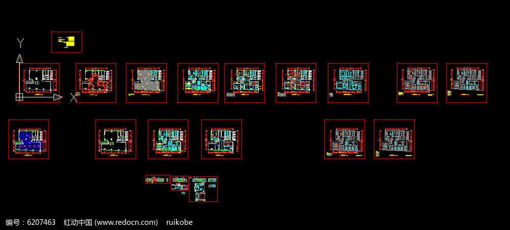 现代风格办公室工装cad设计施工图