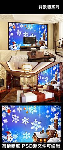 3d立体空间感圣诞节雪人雪花电视背景墙
