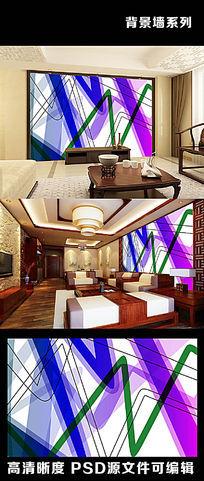 简约现代线条色彩流线型彩带电视背景墙