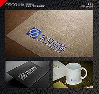 蓝色方形机械公司logo设计 CDR