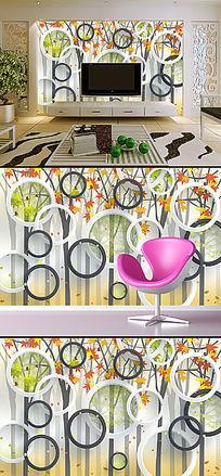3D立体圆圈时尚树电视背景墙