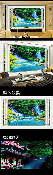 3D罗马柱公园瀑布风景桃花电视背景墙