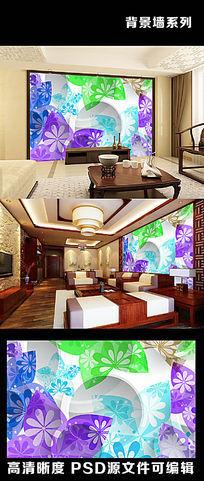 3d立体花朵花卉图案梅花百合电视背景墙