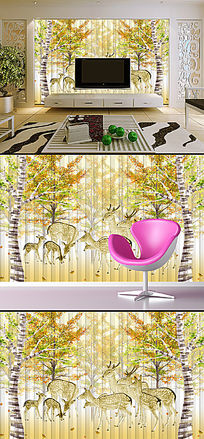 抽象手绘欧式怀旧驯鹿电视背景墙装饰品画