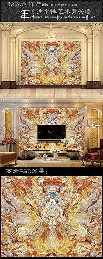 皇室飞花欧式大理石纹客厅电视背景墙