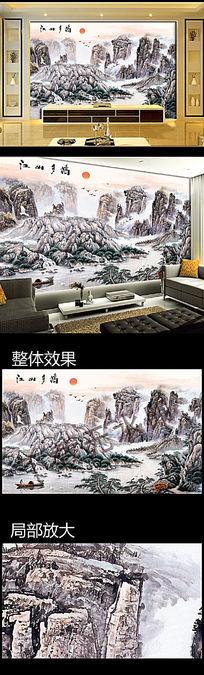 江山多娇国画电视沙发背景墙