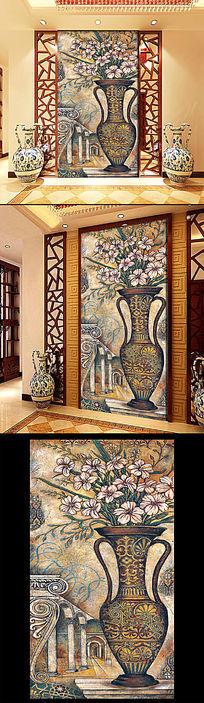 静物油画玄关装饰壁画