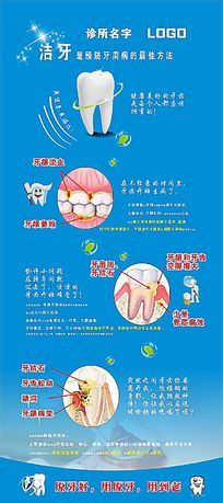 口腔诊所洁牙预防牙病宣传展板