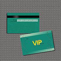 绿色花纹凹凸文字VIP会员卡
