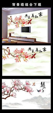 玉兰彩雕玄关背景墙装饰画模板下载