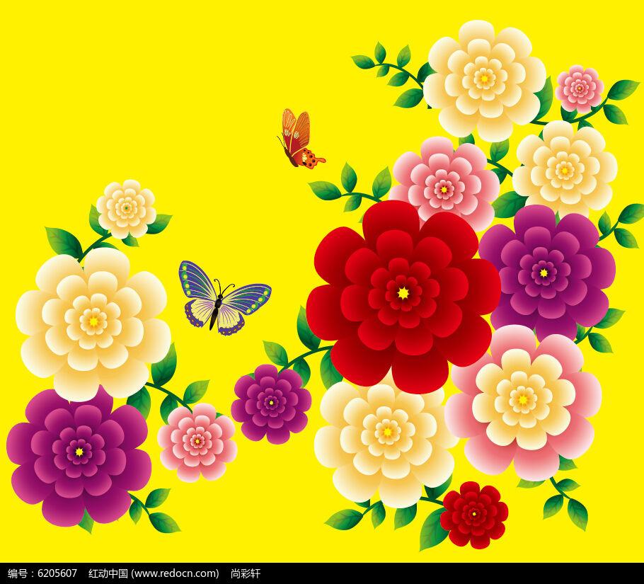 蝴蝶与花矢量图
