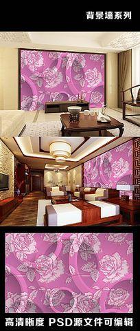 3d立体图案花朵花卉民族风花纹电视背景墙