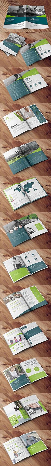 墨绿青绿色个性企业画册设计