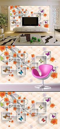 时尚3D玫瑰花蝴蝶电视墙