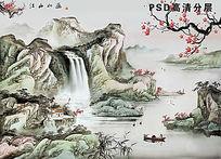 水墨山水装饰画 PSD