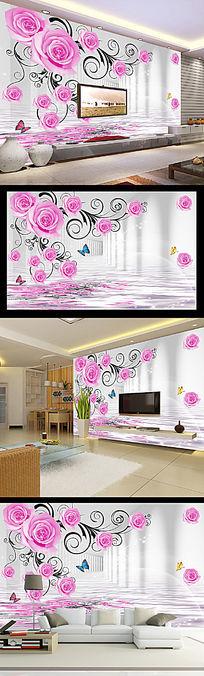 3D立体玫瑰倒影空间扩展电视背景墙装饰画