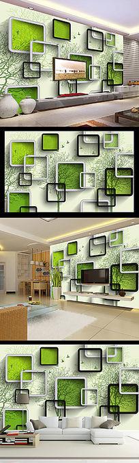 3D立体时尚方框抽象树电视背景墙装饰画