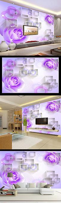 3D梦幻玫瑰方框客厅电视背景墙装饰画