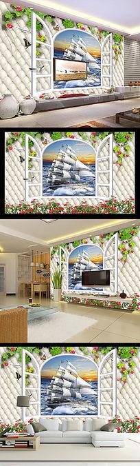 3D皮革软包玫瑰花藤一帆风顺电视背景墙