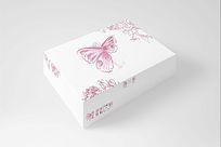 白色飘逸风格蝴蝶少女文胸包装设计 PSD