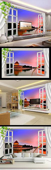 北京故宫角楼风景3d窗户客厅电视背景墙