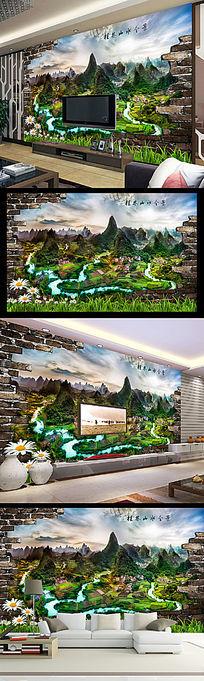 广西桂林山水全景风光3D电视背景墙