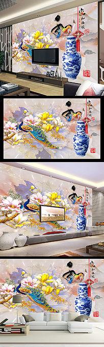家和富顺彩雕玉兰孔雀玉石背景墙壁画