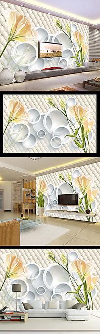 浪漫手绘花朵3D圆圈软包皮革电视背景墙