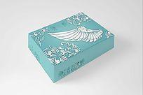 蓝绿色立体花纹翅膀文胸包装设计