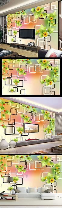 梦幻清新3D方框绿色花朵电视背景墙