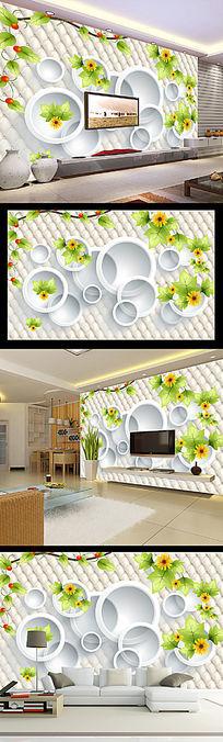 梦幻清新3D圆圈绿色花朵电视背景墙