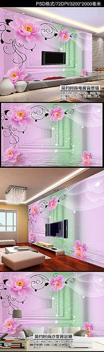 梦幻月季花卉3D空间拓展客厅电视背景墙
