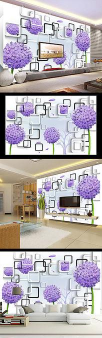 蒲公英时尚3D电视背景墙PSD分层