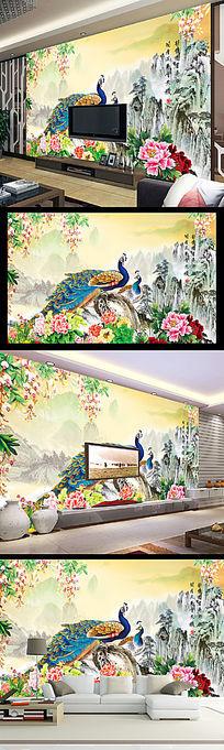 山水情精美国画风景风光电视背景墙装饰画