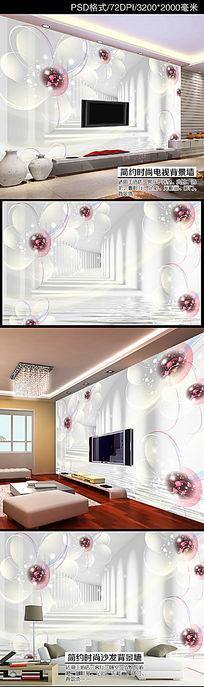 时尚梦幻透明白花3D立体空间电视背景墙