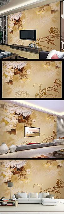 时尚素雅手绘秋菊电视背景墙
