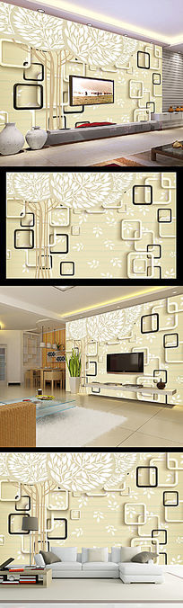 手绘抽象树3D立体方框电视背景墙
