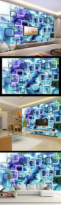 唯美蓝紫色水珠3D方框花朵时尚电视背景墙