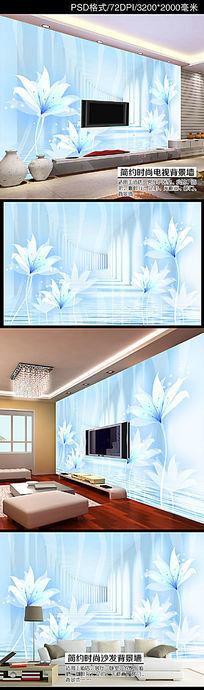 3D立体梦幻花朵空间扩展电视背景墙装饰画