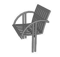 方形长条纹金属座椅su模型