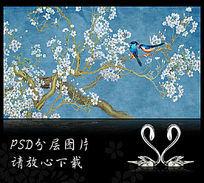 手绘国画蓝色花鸟背景墙