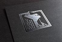 提案贴图烫黑金标志商务展示logo效果图