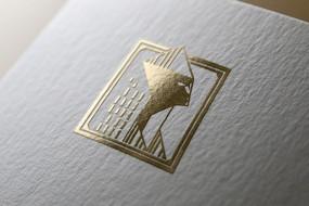 提案贴图烫金金色标志商务展示logo效果图