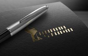 提案贴图烫金色标志钢笔商务展示logo效果图