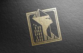 提案贴图烫金色深色商务标志展示logo效果图