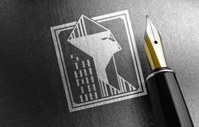 提案贴图烫银色钢笔商务标志展示logo效果图