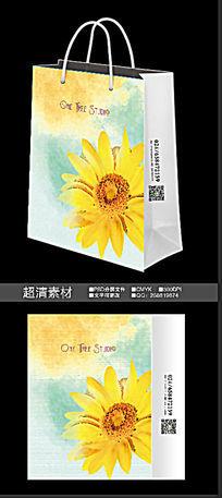中国风水彩花朵手提袋