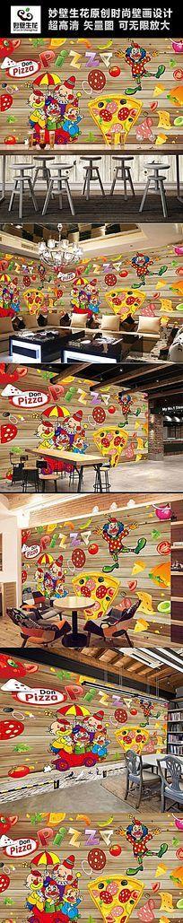 披萨背景墙壁画