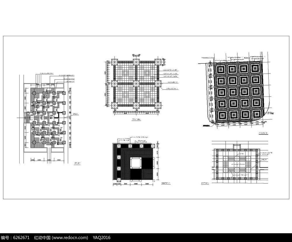 5种方形树池广场铺装平面cad